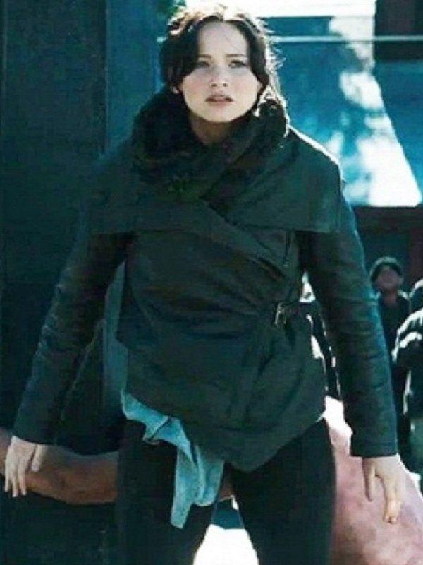Jennifer Lawrence The Hunger Games Black Leather Jacket