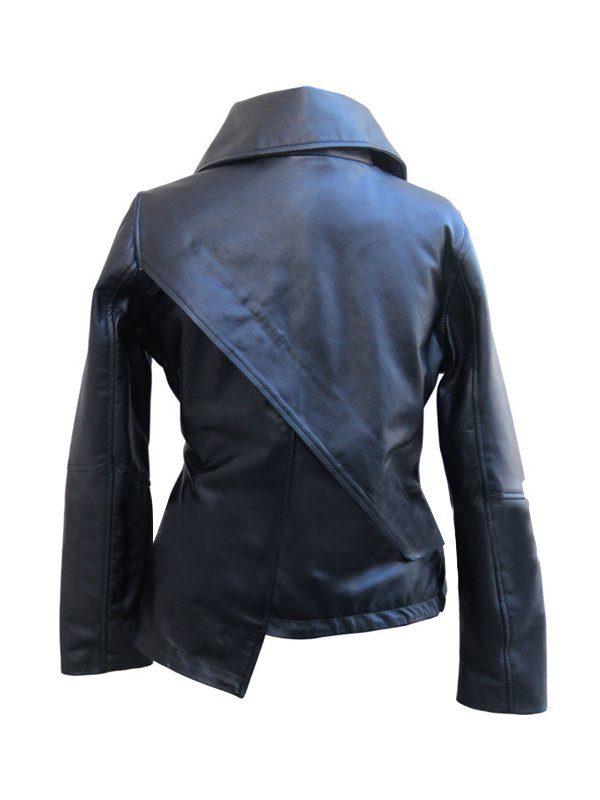 Jennifer Lawrence The Hunger Games Black Leather Jacket back
