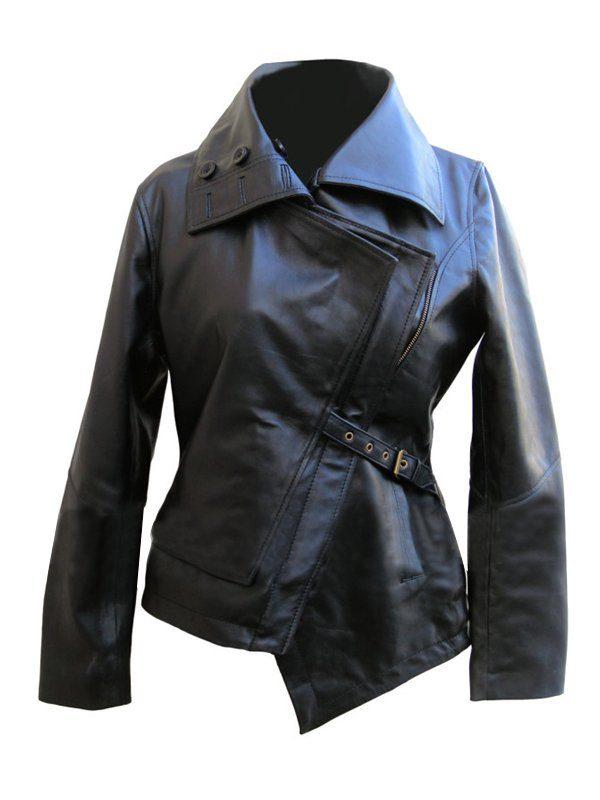 Jennifer Lawrence The Hunger Games Black Leather Jacket front