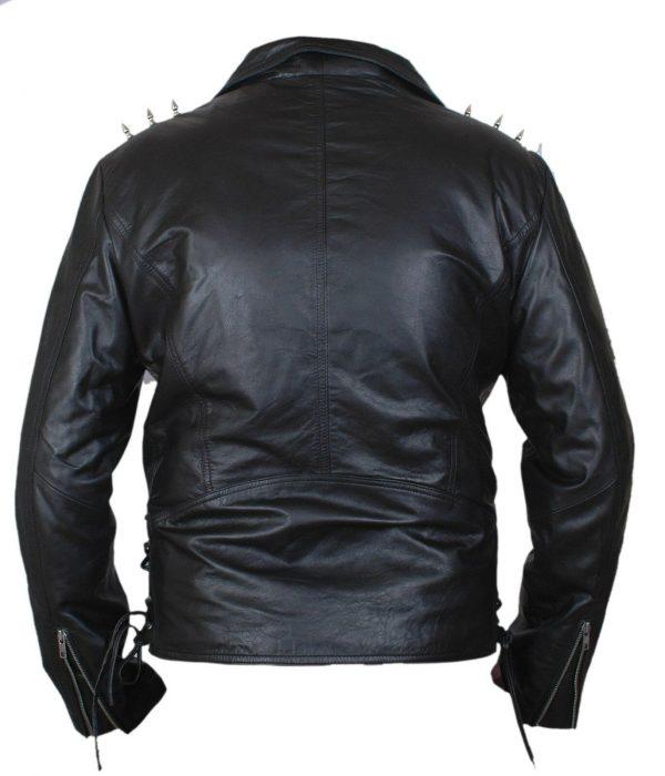 Johnny Blaze Ghost Rider Nicolas Cage Black Motorcycle Jacket back