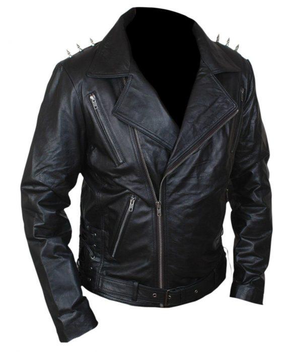 Johnny Blaze Ghost Rider Nicolas Cage Black Motorcycle Jacket front