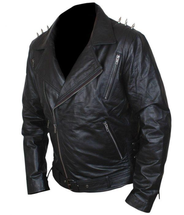 Johnny Blaze Ghost Rider Nicolas Cage Black Motorcycle Jacket side