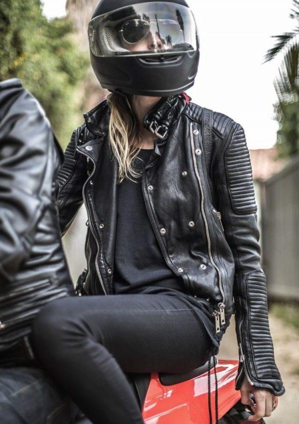 Kate Bosworth Black Biker Leather Jacket