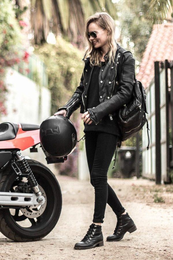 Kate Bosworth Black Biker Leather Jacket front