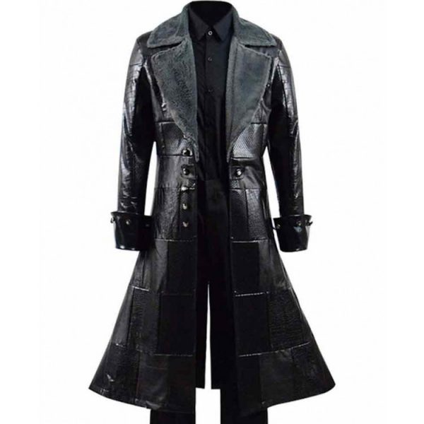 Kingdom Hearts iii Sora Black Fur Leather Coat front