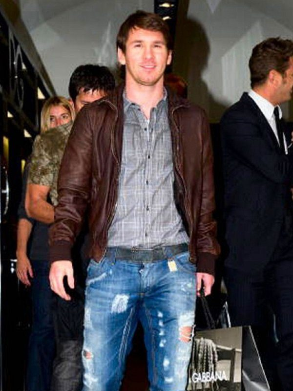 Lionel Messi FIFA World Cup Brown Leather Jacket front
