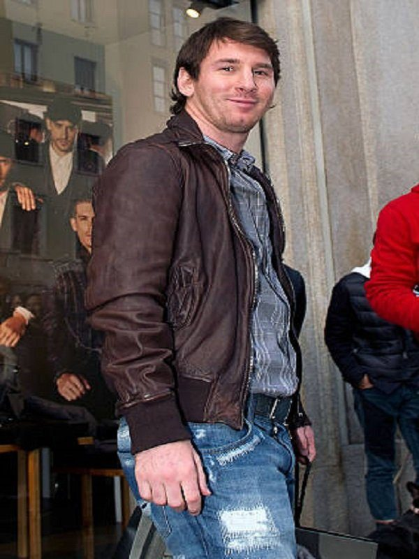 Lionel Messi FIFA World Cup Brown Leather Jacket side