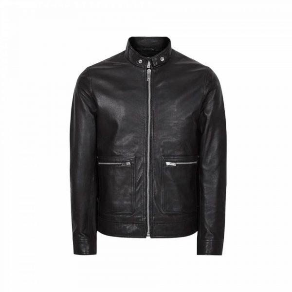 Men's Black Reiss Biker Leather Jacket