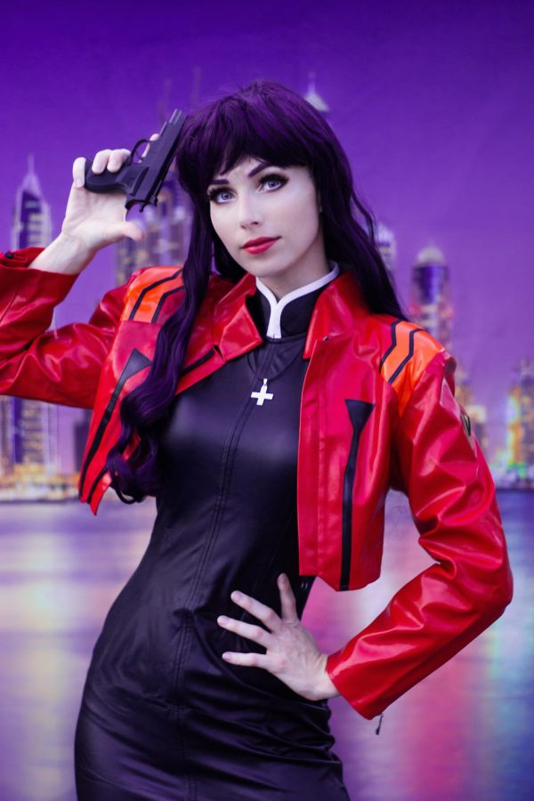Misato Katsuragi Evangelion leather jacket Cosplay