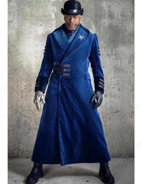 Nathaniel Moon Into The Badlands Sherman Augustus Blue Wool Coat full