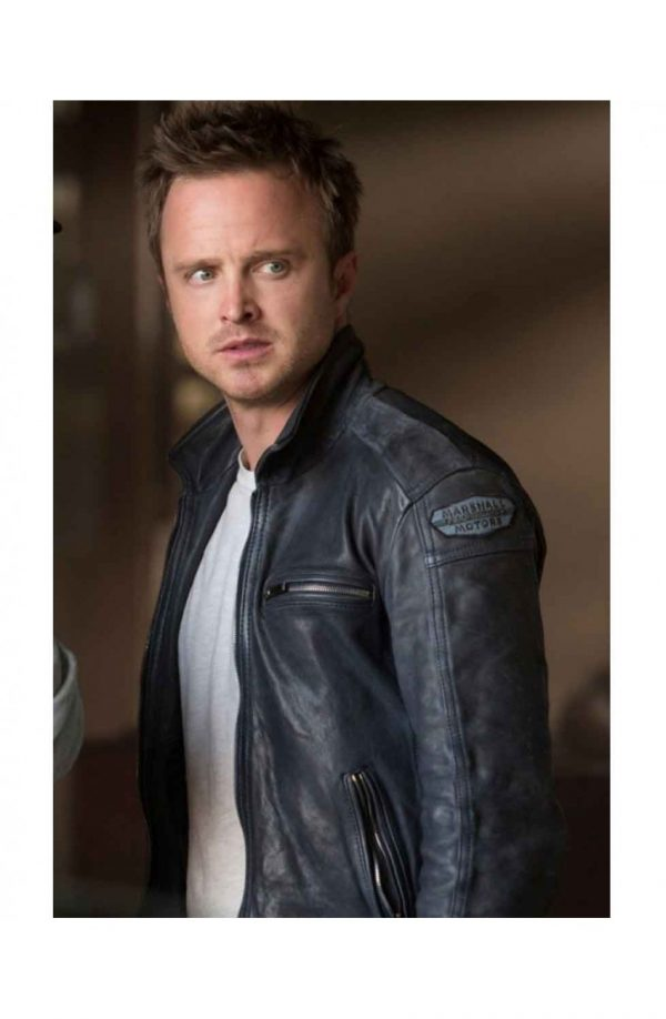 Need For Speed Aaron Paul Black Leather Jacket front