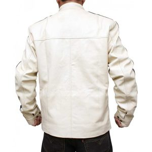 Need For Speed Aaron Paul White Leather Jacket back