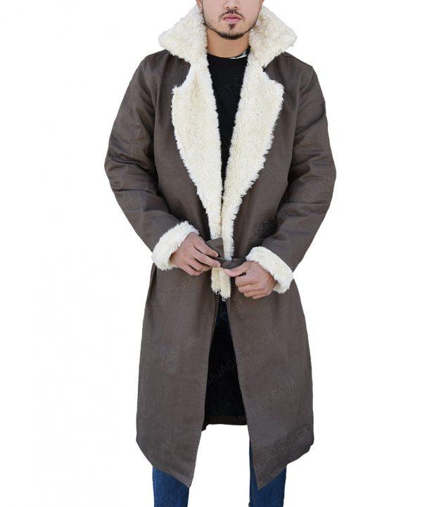 Negative Man Matt Bomer Doom Patrol Fur collar Trench Coat close