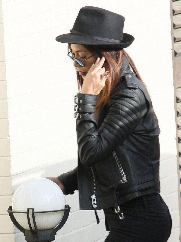 Nicole Scherzinger Casual Black Bomber Leather Jacket side