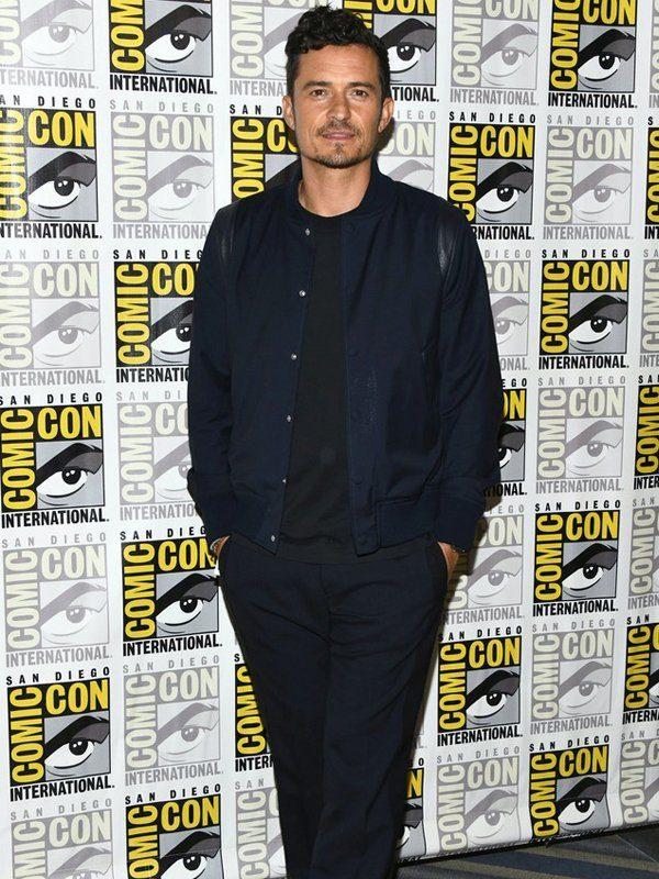 Orlando Bloom Navy Blue Cotton Jacket At Comic-Con Row
