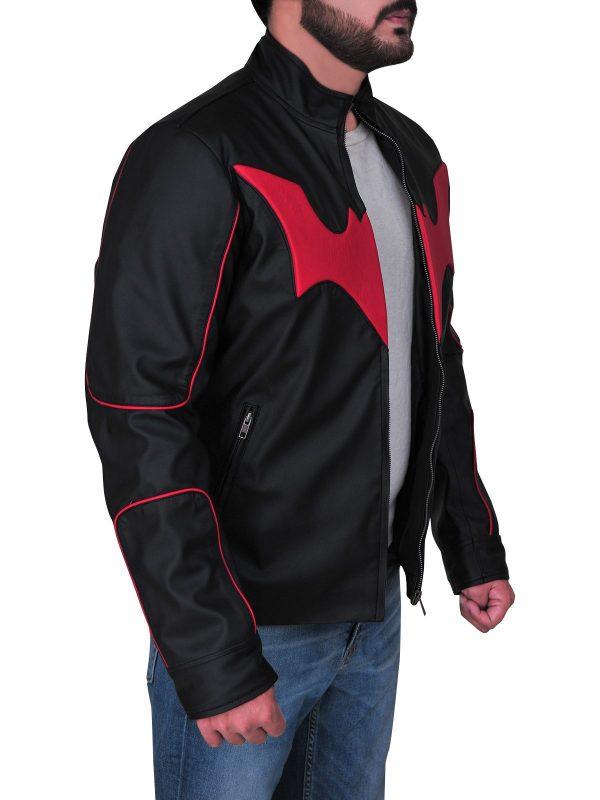 Red Bat Logo Terry Mcginnis Batman Beyond Leather Jacket open