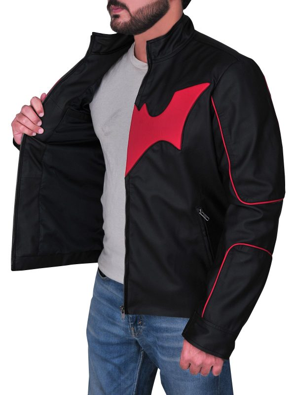 Red Bat Logo Terry Mcginnis Batman Beyond Leather Jacket open side