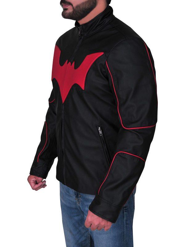 Red Bat Logo Terry Mcginnis Batman Beyond Leather Jacket side