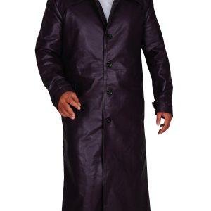 Resident Evil 5 Albert Wesker Long Costume Purple Coat front