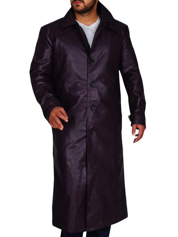Resident Evil 5 Albert Wesker Long Costume Purple Coat front