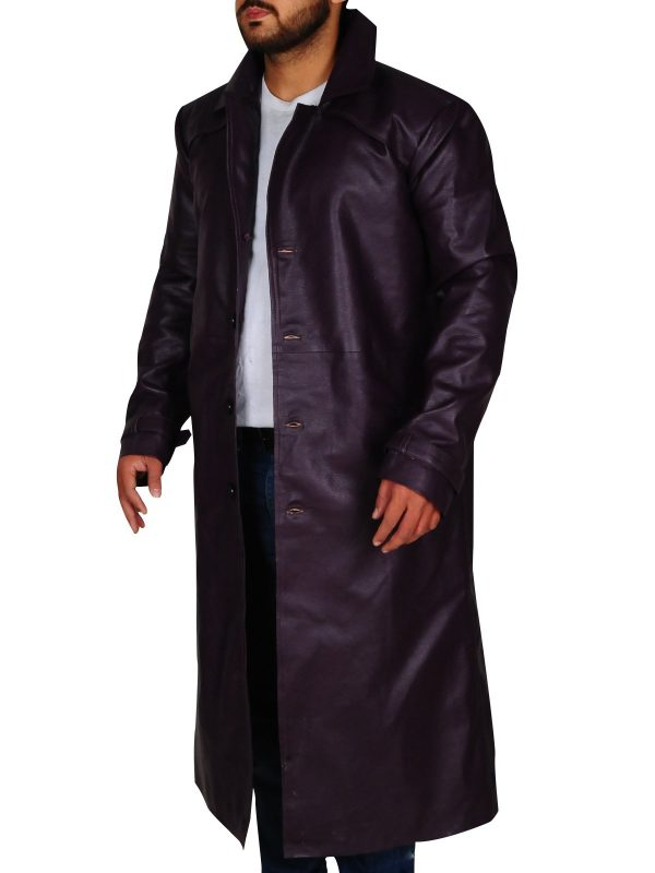 Resident Evil 5 Albert Wesker Long Costume Purple Coat side