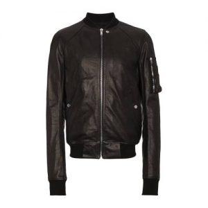 Rick Owens Biker Black Leather Jacket