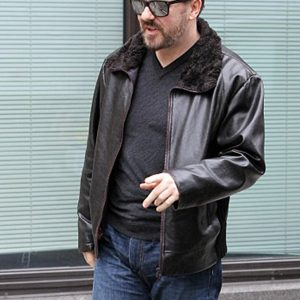 Ricky Gervais After Life Black Fur Leather Jacket 1