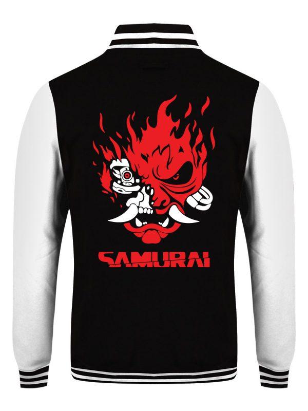 Samurai Logo Black & White Varsity Jacket back