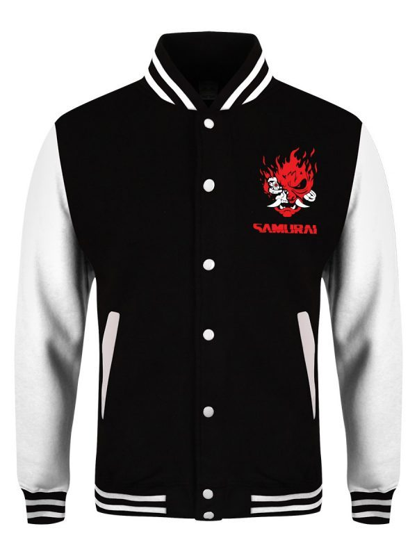 Samurai Logo Black & White Varsity Jacket front