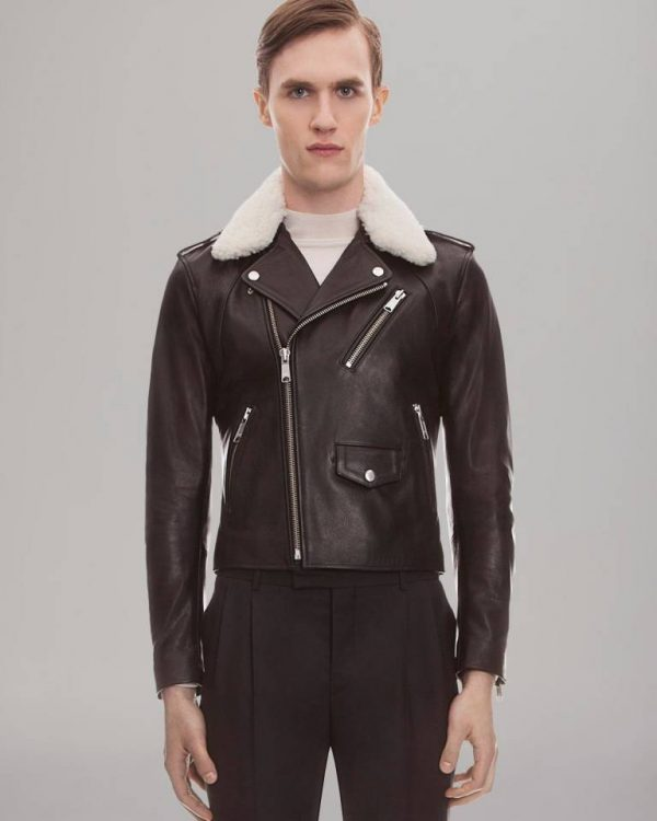 Sandro Shearing Biker Brown Leather Jacket