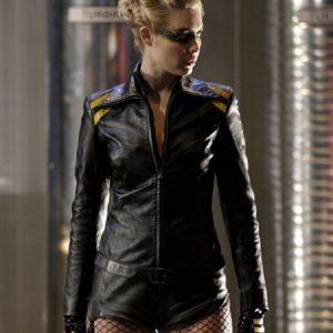 Smallville Alaina Huffman Black Leather Jacket side
