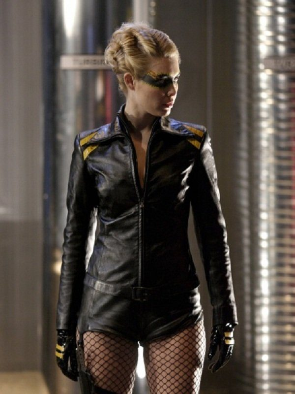 Smallville Alaina Huffman Black Leather Jacket side