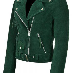 Smart Range Ladies Brando Green Leather Jacket