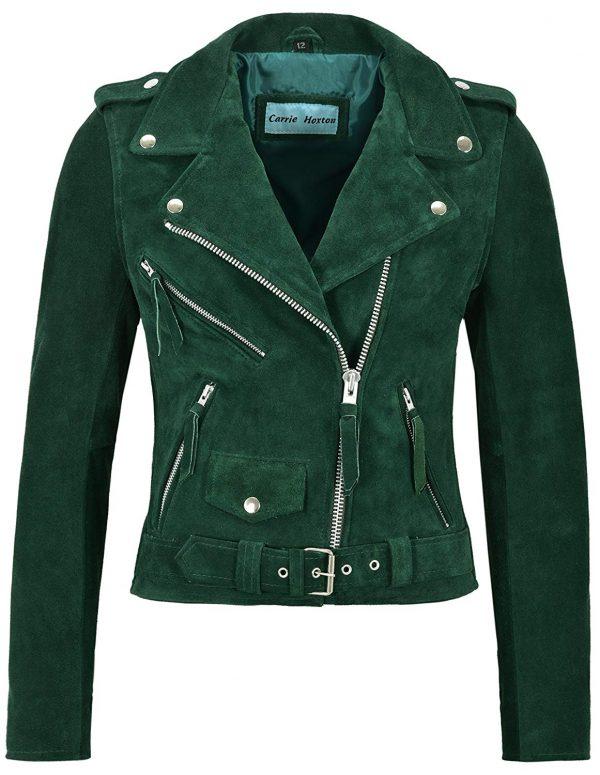 Smart Range Ladies Brando Green Leather Jacket front