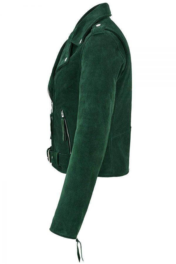 Smart Range Ladies Brando Green Leather Jacket side