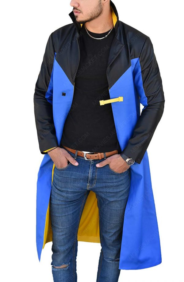 Static Shock Blue & Yellow Hooded Long Trench Coat
