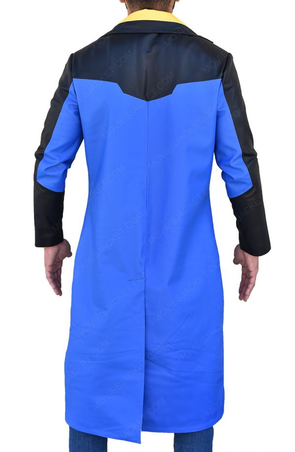 Static Shock Blue & Yellow Hooded Long Trench Coat back