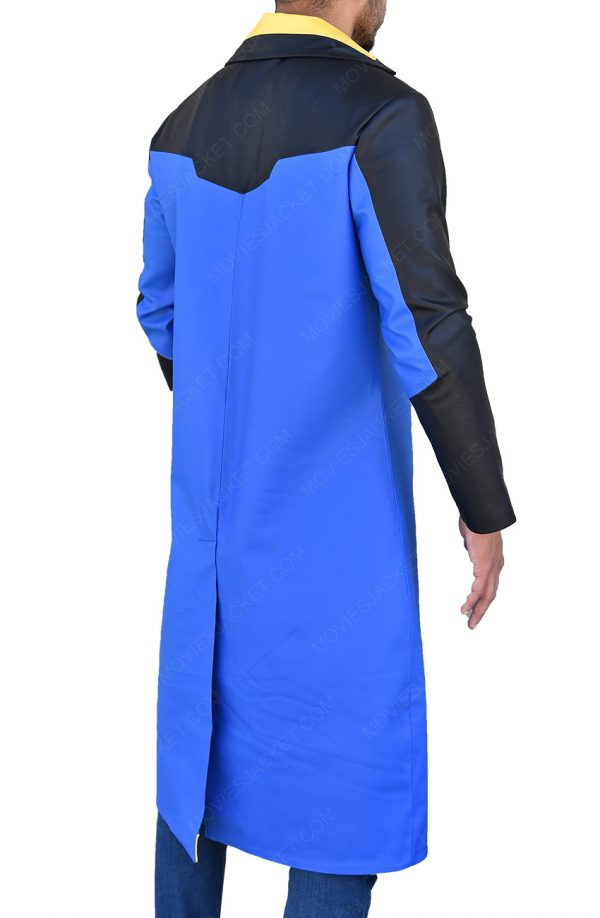 Static Shock Blue & Yellow Hooded Long Trench Coat back side