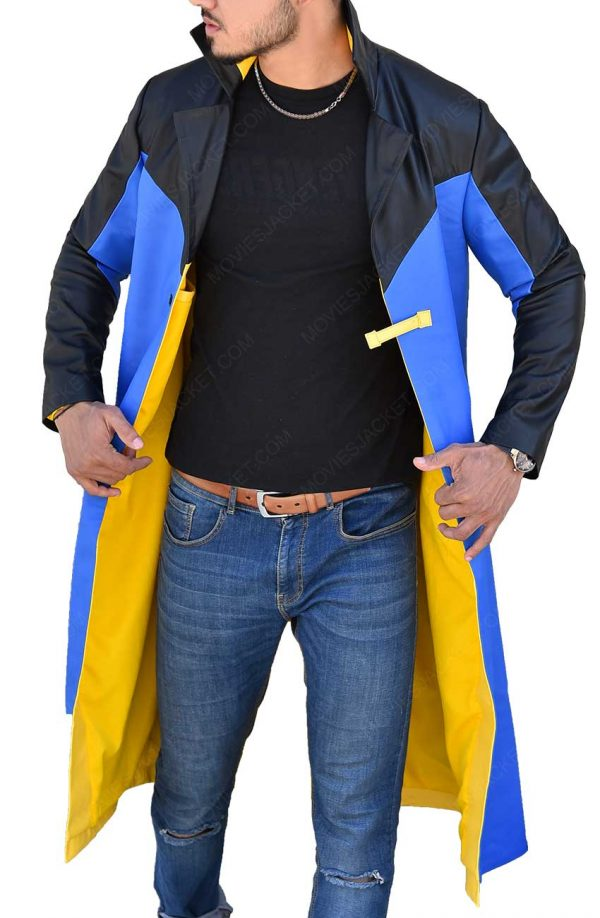 Static Shock Blue & Yellow Hooded Long Trench Coat front