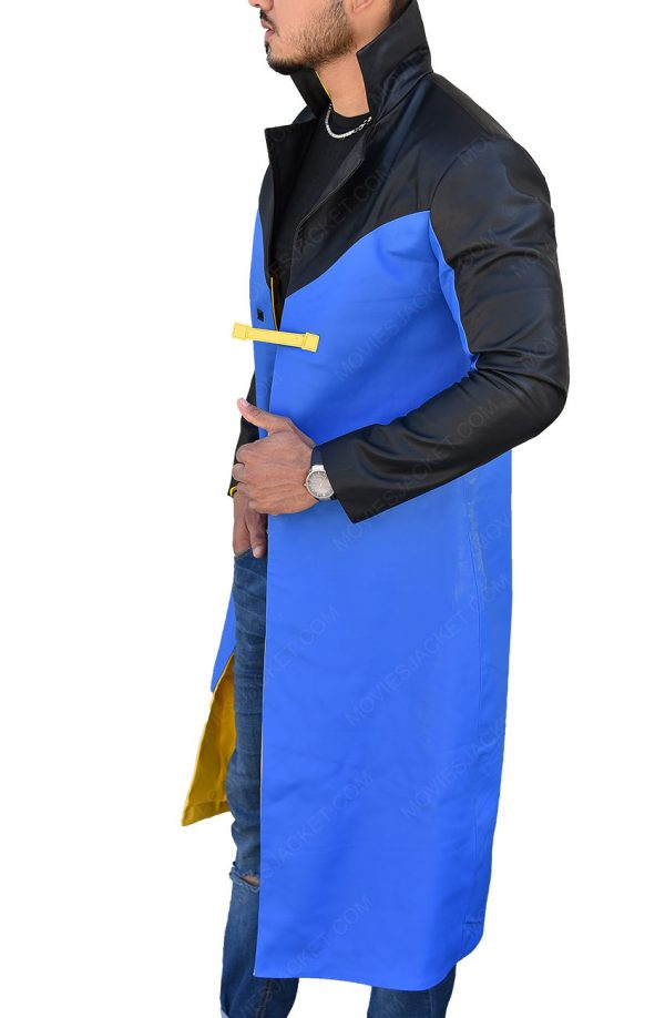 Static Shock Blue & Yellow Hooded Long Trench Coat side