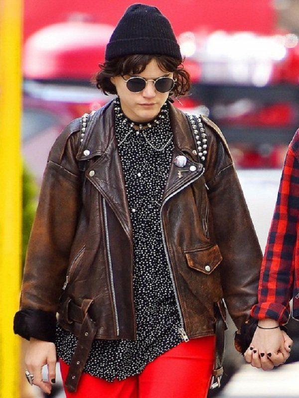 Stephanie Sokolinski Brown Leather Jacket front 2