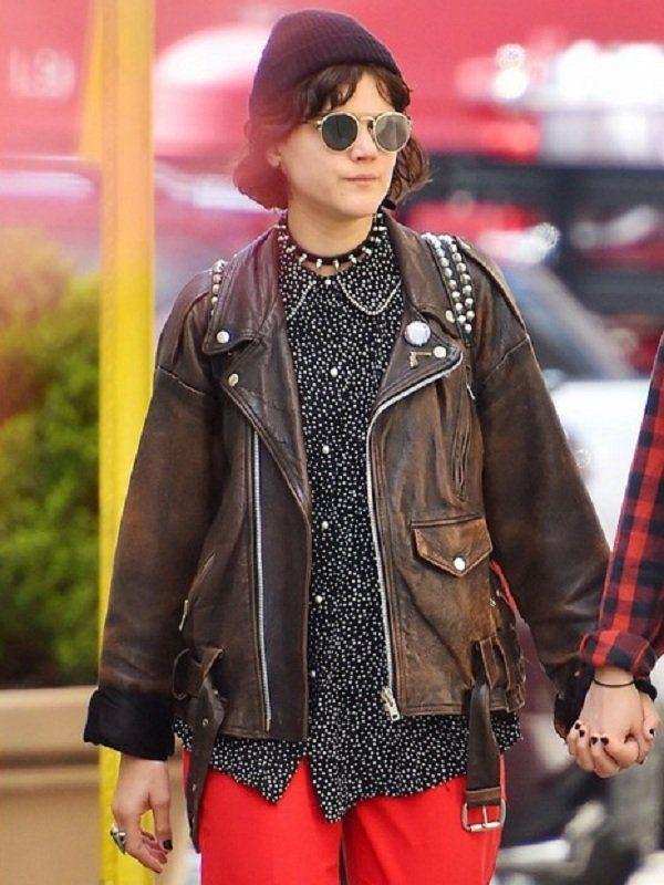Stephanie Sokolinski Brown Leather Jacket front