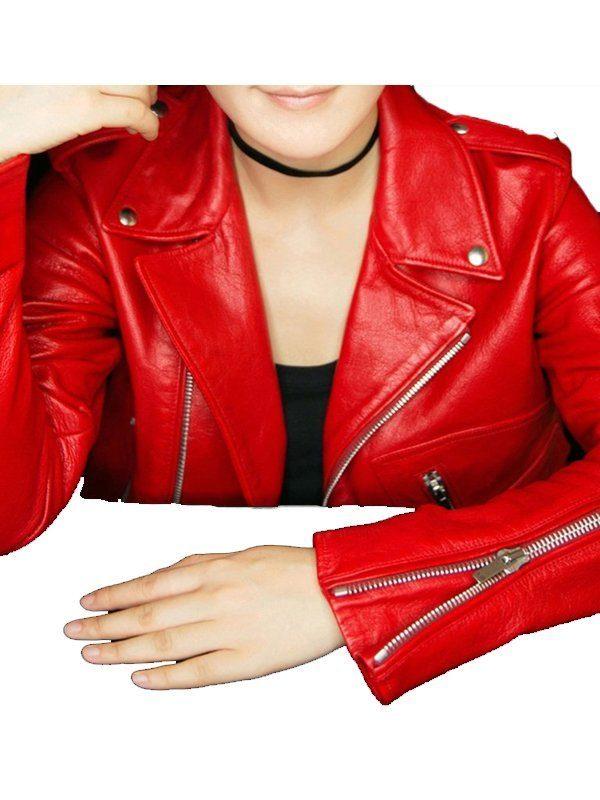 Stylish Motorcycle Red Leather Jacket 1