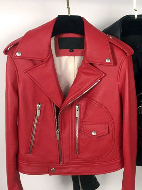 Stylish Motorcycle Red Leather Jacket