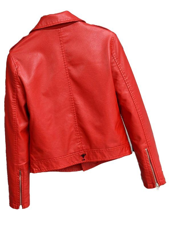Stylish Motorcycle Red Leather Jacket back