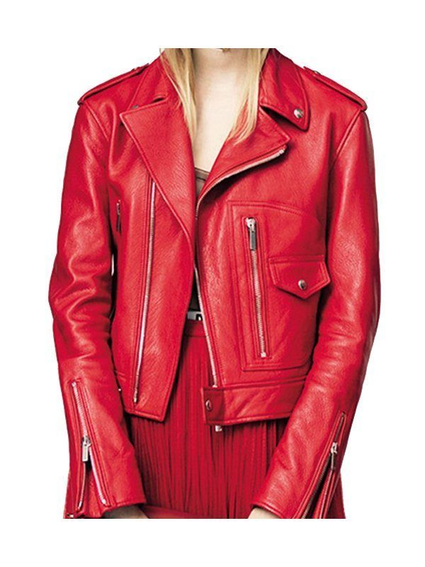 Stylish Motorcycle Red Leather Jacket front