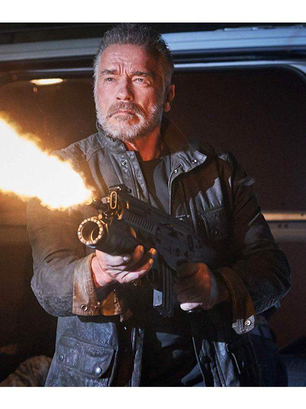 Terminator Dark Fate Arnold Schwarzenegger Black Leather Jacket front
