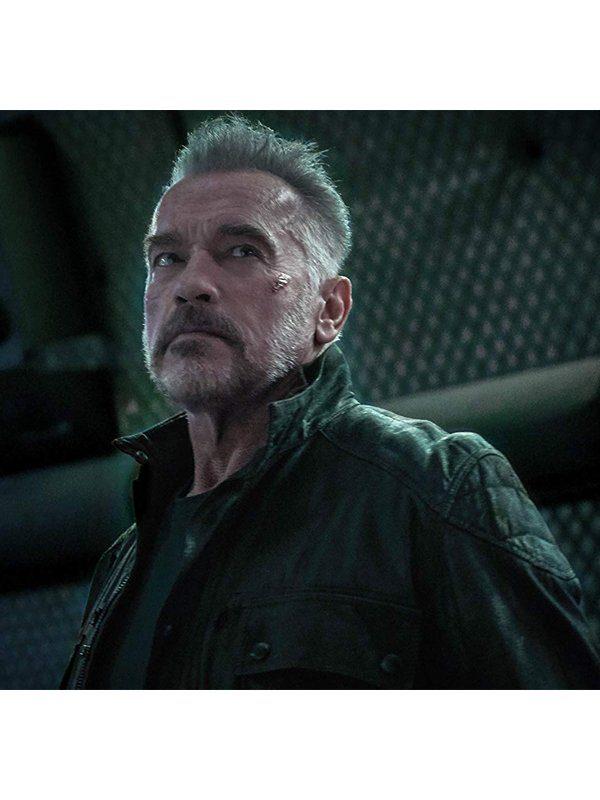 Terminator Dark Fate Arnold Schwarzenegger Black Leather Jacket look