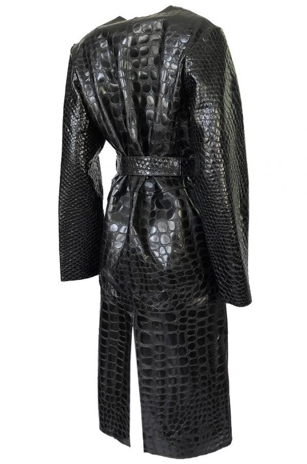 The Attico 'Maria' Crocodile Embossed Glossed Leather Wrap Coat back