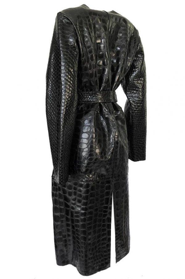 The Attico 'Maria' Crocodile Embossed Glossed Leather Wrap Coat back side